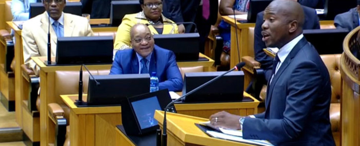 A screen grab of President Jacob Zuma watching on as DA leader in Parliament Mmusi Maimane addresses the house during the State of the Nation Address debate in Cape Town on 17 February 2015. Picture: YouTube