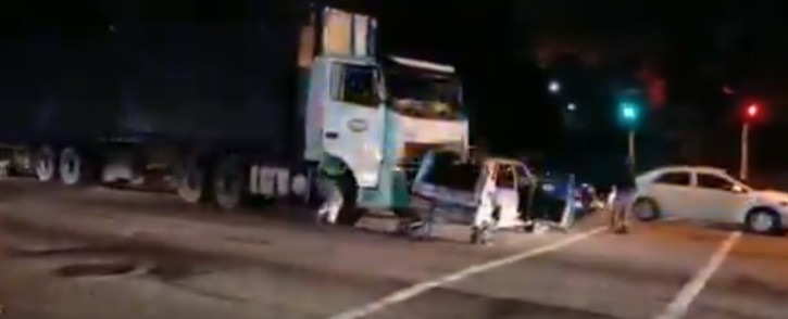 A screenshot of a truck crashing into a car in Pinetown on Monday night, 29 September 2020. Picture: Twitter