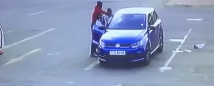 A video screengrab of a man being shot and killed by two men in a parking lot in Welkom, Free State.