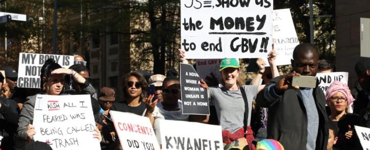 Demonstrators gather near the Johannesburg Stock Exchange in Sandton on 13 September 2019 in protest against gender-based violence. Picture: Kayleen Morgan/EWN