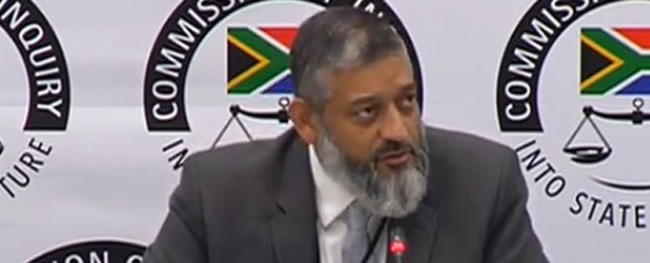 A YouTube screengrab shows Transnet acting group chief executive Mohammed Mahomedy give testimony at the state capture inquiry on 15 May 2019.