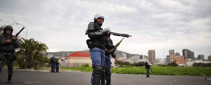 FILE: Public order police stand ready with shotguns and rubber bullets as students protest at CPUT. Picture: EWN