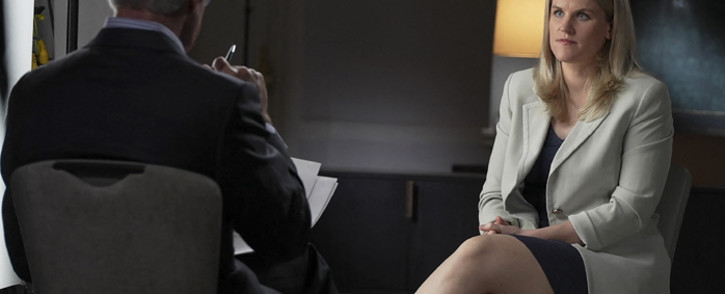 In this picture released by CBS News, Frances Haugen, a Facebook whistleblower, speaks during an interview with Scott Pelley on 60 MINUTES on 3 October 2021. Picture: Robert Fortunato/CBS News/60MINUTES/AFP