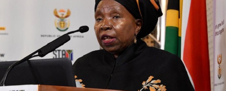 Cooperative Governance Minister Nkosazana Dlamini-Zuma at a media briefing in Pretoria on 17 August 2020. Picture: @GCISMedia/Twitter
