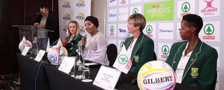 From L to R: Proteas player Erin Burger, Netball South Africa President Cecilia Molokwane, SA coach Dorette Badenhorst and Zanele Vimbela. Picture: @Netball_SA/Twitter.