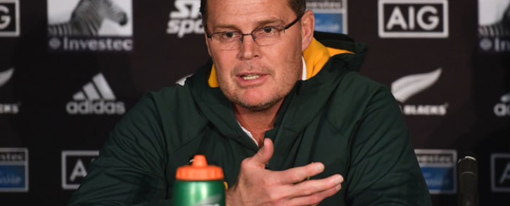 FILE: South Africa's head coach Rassie Erasmus speaks to the media in a post-match presser after the Rugby Championship match between New Zealand and South Africa at Westpac Stadium in Wellington on 27 July 2019. Picture: AFP