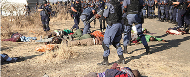 FILE: Police open fire at protesting workers at the Lonmin's Marikana mine, North West on 16 August 2012. Picture: EWN.
