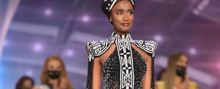 Zozibini Tunzi at the Miss Universe 2021 pageant. Picture: Zozibini Tunzi/Instagram.