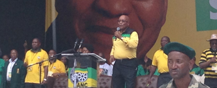 Zuma delivering the ANC Manifesto at the Mbombela Stadium on Saturday morning 11 January. Picture: Reinart Toerien/EWN.