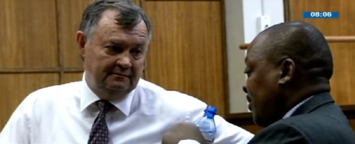 A video screengrab of John Block and Christo Scholtz in court. Picture: YouTube