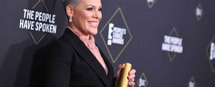 US singer/songwriter Pink poses with the People's Champion Award during the 45th annual E! People's Choice Awards at Barker Hangar in Santa Monica, California, on 10 November 2019. Picture: AFP
