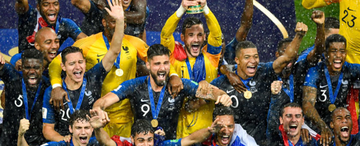 FILE: French players celebrate winning the 2018 Fifa World Cup at the Luzhniki Stadium in Moscow on 15 July 2018. Picture: AFP