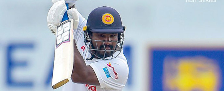 Sri Lanka's Lahiru Thrimanne goes for a hard-fought 111. The Sri Lankans are back in the thick of it. Picture: Twitter @OfficialSLC.