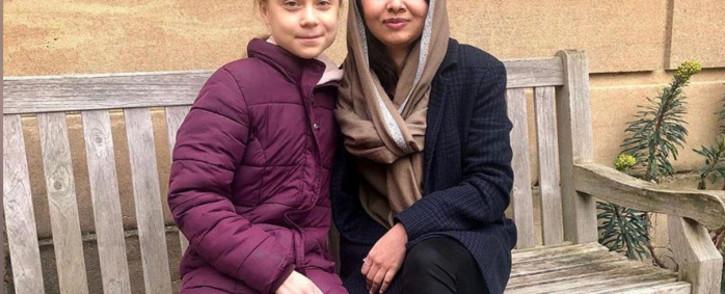Swedish environmental activist Greta Thunberg and Nobel Peace Prize winner Malala Yousafzai at University of Oxford in Oxford, Britain, on 25 February 2020. Picture: @Malala/Twitter