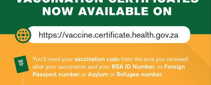 The COVID-19 vaccine certificate portal. Picture: @HealthZA/Twitter