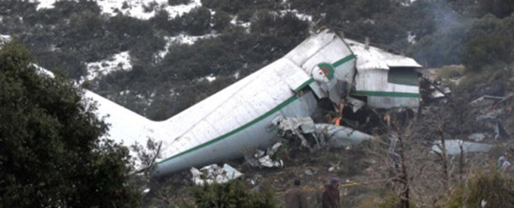 The wreck of the Algerian military aeroplane that crashed on Tuesday, killing 77 people. Picture: CNN.