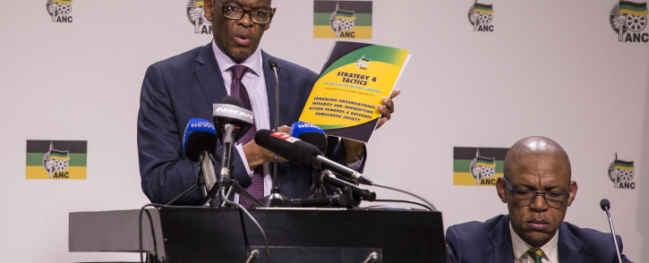 ANC secretary-general Ace Magashule is seen as he addresses the media on the release of the ANC's 54th conference resolutions at Luthuli House. Picture: Ihsaan Haffejee/EWN