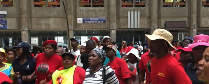 Workers affiliated with Numsa protesting at Wits University. Picture: @Numsa_Media/Twitter.