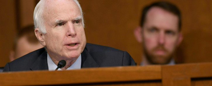 US Republican Senator John McCain asking questions to Attorney General Jeff Sessions (unseen) during a US Senate Select Committee on Intelligence hearing on Capitol Hill in Washington, DC. Picture: AFP.