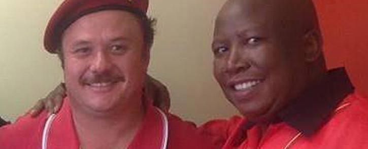 Economic Freedom Fighters' Wiekus Kotze and its leader Julius Malema. Picture: Facebook.com.