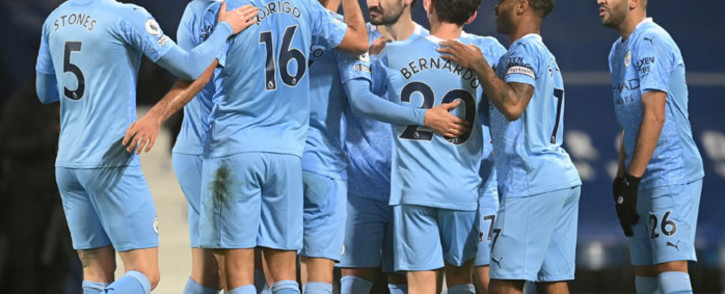 Manchester City players celebrate a goal in their 5-0 demolition of West Bromwich Albion in their English Premier League match on 26 January 2021. Picture: @ManCity/Twitter