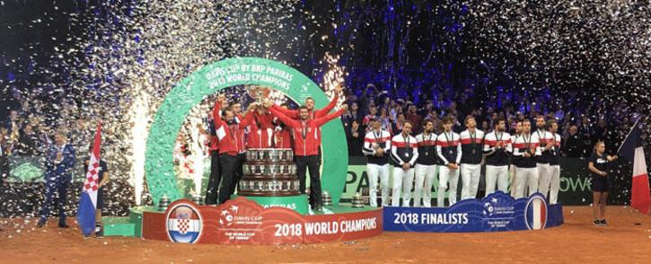 FILE: Croatia players lift the 2018 Davis Cup on 25 November 2018. Picture: @DavisCup/Twitter.