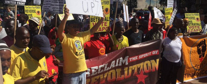 Zuma Must Fall protesters on 27 April 2016 during Freedom Day demonstrations in Johannesburg. Picture: Kgothatso Mogale/EWN.