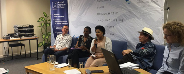A  panel, including UCT professor Pierre de Vos, Inyathelo's Nomfundo Walaza & former constitutional judge Albie Sachs, discusses the Constitution as the country marks 20 years since its adoption on 8 December 2016. Picture: Giovanna Gerbi/EWN.
