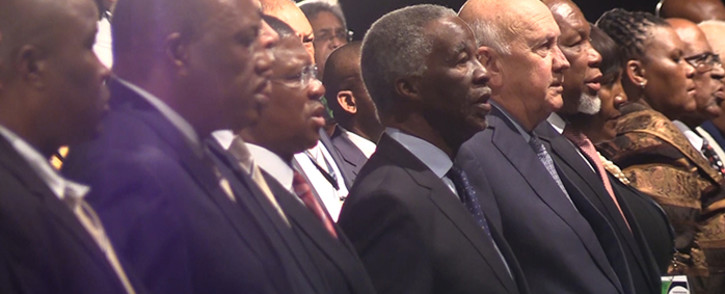 Former Presidents Thabo Mbeki, FW de Klerk and Kgalema Motlanthe sing the national anthem at the opening of the SAFA AGM, Saturday 11 October 2014. Picture: Vumani Mkhize/EWN
