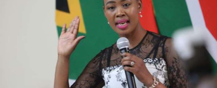New Minister of Communications Stella Ndabeni-Abrahams takes her oath of office. Picture: Kayleen Morgan/EWN
