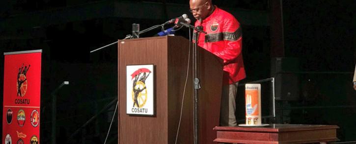 Outgoing Cosatu President Sdumo Dlamini addresses the Cosatu Congress 2018 at Gallagher Convention Centre in Midrand. Picture: @MYANC/Twitter.