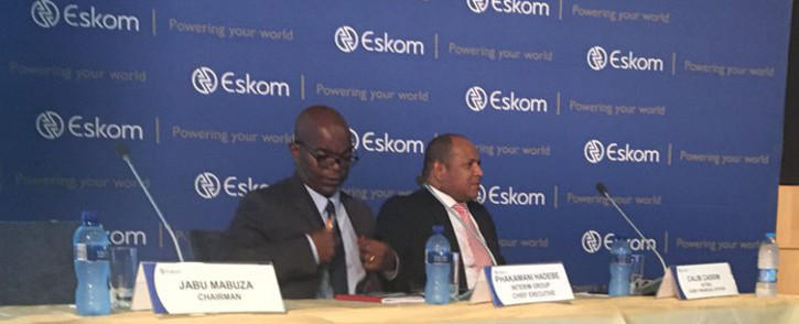 FILE: Acting Eskom CEO Phakamani Hadebe (left) at the announcement of the company's interim results on 30 January 2018. Picture: Gia Nicolaides/EWN