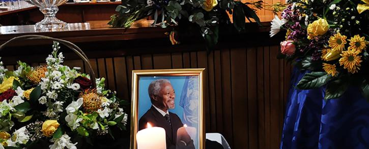 A portrait of former UN secretary-general Kofi Annan at his memorial in Pretoria. Picture: Kayleen Morgan/EWN