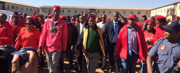 EFF leader Julius Malema at the Sethokga hostel, Tembisa where the party claims two of its members were killed in political rivalry. Picture: Twitter: @EFFSouthAfrica