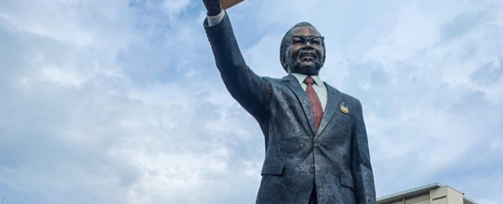 The newly-erected nine-metre statue of late struggle icon Oliver Tambo at the OR Tambo International Airport. Picture: @MbalulaFikile/Twitter