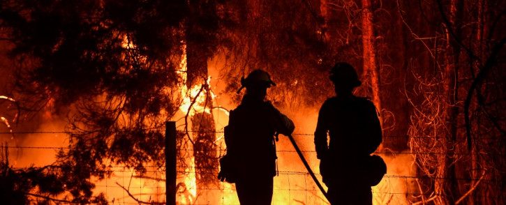 Firefighters spray water on trees as they burn along Highway 395 during the Dixie Fire in the early morning of 17 August 2021 near Janesville, California. The wildfire in Northern California has grown to become the largest single wildfire in California state history. Picture: Patrick T. Fallon/AFP