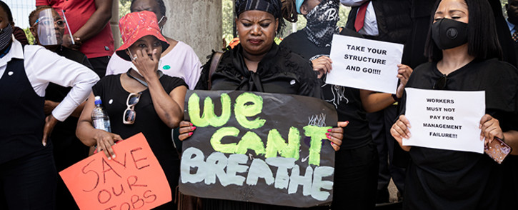 SABC employees picketing outside their offices on 19 November 2020. The employees of the embattled public broadcaster are protesting against retrenchments that could see hundreds lose their jobs. Picture: Xanderleigh Dookey Makhaza/EWN