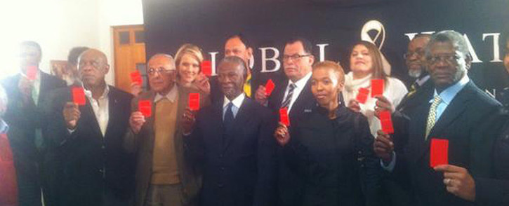 Former president Thabo Mbeki, Safa president Danny Jordaan and other dignitaries showing their support in fight against racism in sports on 21 July 2014. Picture: Tholakele Mnganga/EWN.