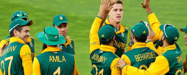 FILE: Proteas players celebrate with Morne Morkel after taking a wicket during their Pool B match against United Arab Emirates on 12 March 2015. Picture: CWC.