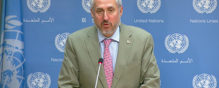 A screengrab of a United Nations spokesperson reacting to the United States' withdrawal from the Iran nuclear deal.