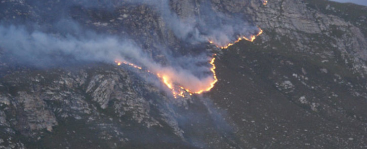 A fire on the mountain near Pringle Bay in the Western Cape. Picture: Supplied