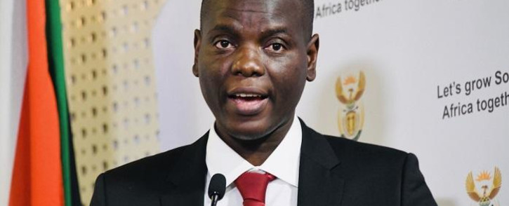 Justice and Correctional Services Minister Ronald Lamola addresses the media in Pretoria during a virtual Cabinet briefing on 6 August 2020. Picture: @GovernmentZA/Twitter