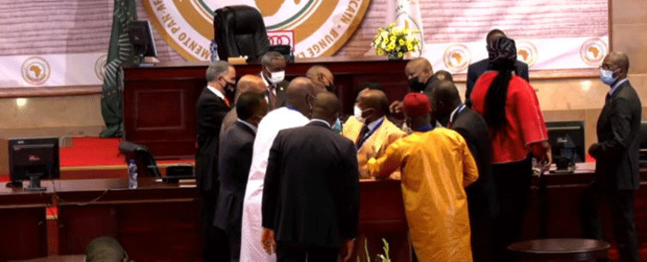 Members of the Pan-African Parliament clashed in the House in Midrand on 31 May 2021. Picture: YouTube screengrab.