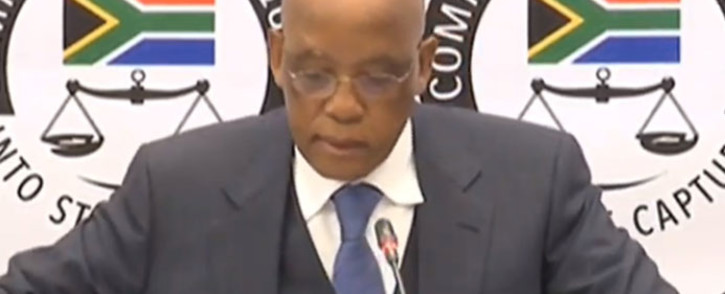 A screengrab of former Transport Minister Ben Martins testifying at the state capture commission of inquiry on 2 July 2019.
