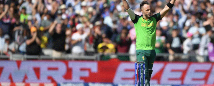 FILE: Proteas captain Faf du Plessis during a match against Australia in the Cricket World Cup 2019. Picture: @cricketworldcup/Twitter.