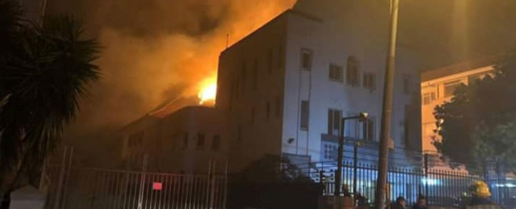 Firefighters extinguish a fire at a synagogue in Sea Point, Cape Town on 4 December 2018. Picture: Cape SA Jewish Board of Deputies/Facebook