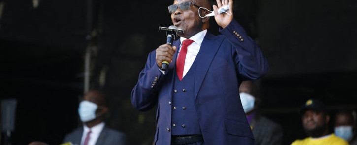 FILE: Former South African President Jacob Zuma addresses his supporters following the postponement of his corruption trial outside the Pietermaritzburg High Court in Pietermaritzburg, South Africa, on 26 May 2021. Picture: Phill Magakoe/AFP