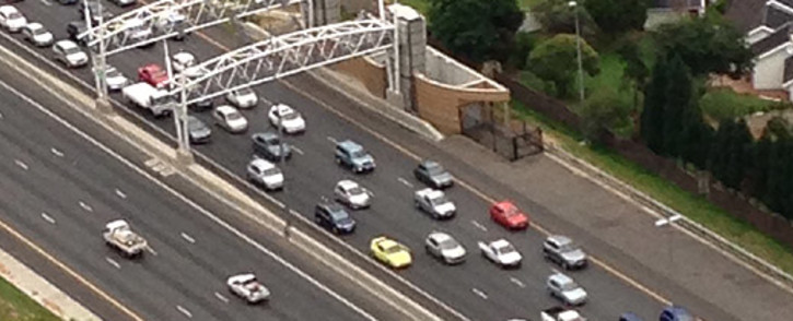 An aerial view showing an e-toll gantry on the N1 highway. Picture: Aki Anastasiou/EWN.