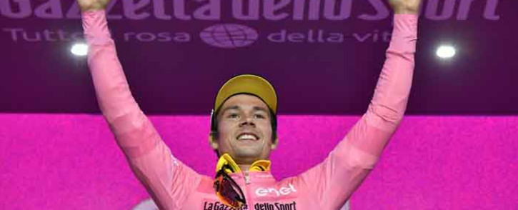 Slovenian Primoz Roglic celebrates winning the first stage of the Giro d'Italia on 11 May. Picture: @giroditalia/Twitter.