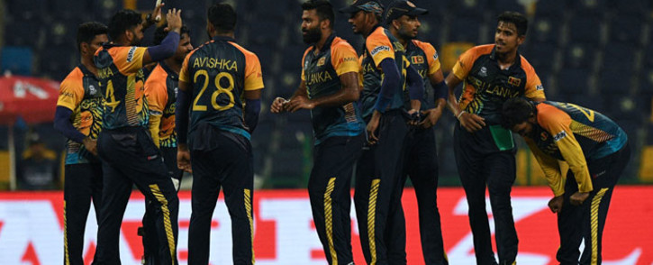Sri Lanka players celebrate the fall of a wicket in their T20 World Cup match against Ireland on 20 October 2021. Picture: @T20WorldCup/Twitter